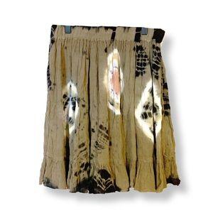 Missguided • Earth Tone Tie Dye Crepe Swing Skirt